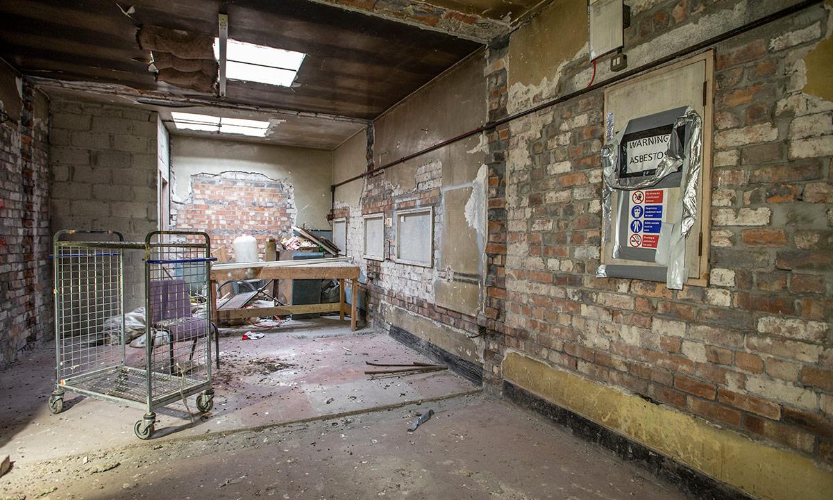 The former Abbey Cinema interior brickwork